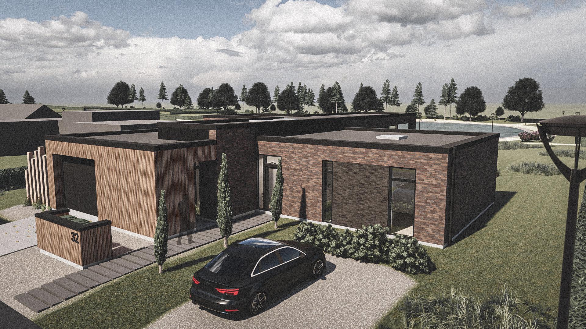 Billede af Dansk arkitekttegnet 1 plan villa af arkitektfirmaet m2plus, i Horsens på 202 kvartratmeter.