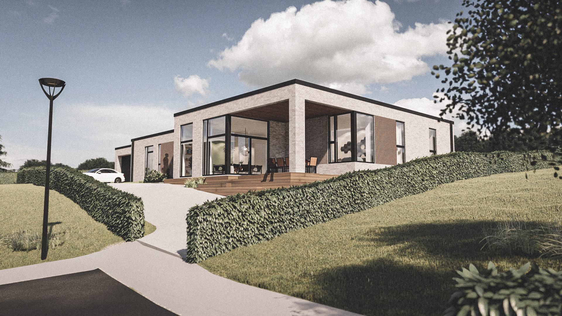 Billede af Dansk arkitekttegnet 1 plan villa af arkitektfirmaet m2plus, i Viborg på 201 kvartratmeter.