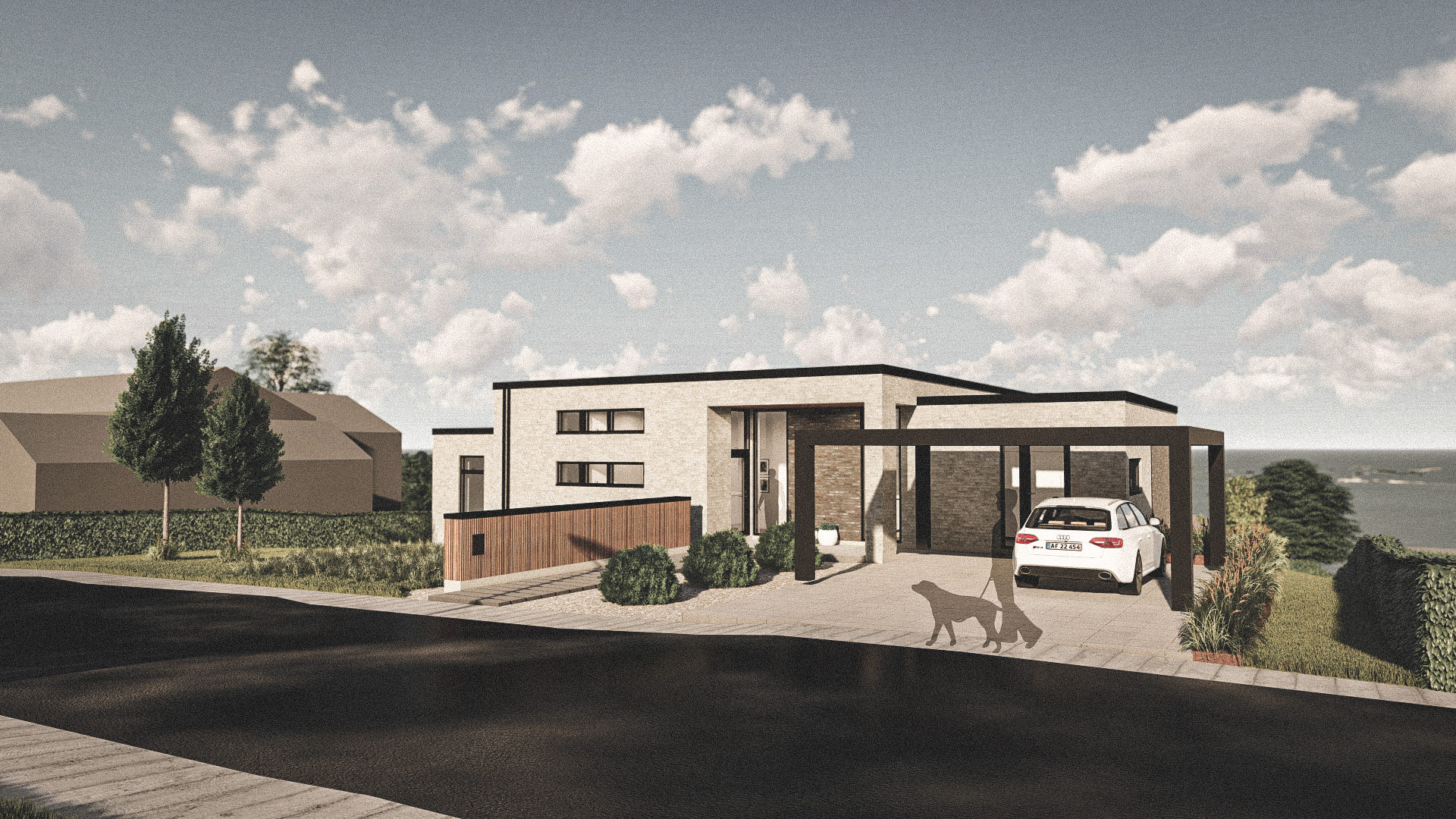 Billede af Dansk arkitekttegnet 1 plan villa af arkitektfirmaet m2plus, i Viborg på 200 kvartratmeter.