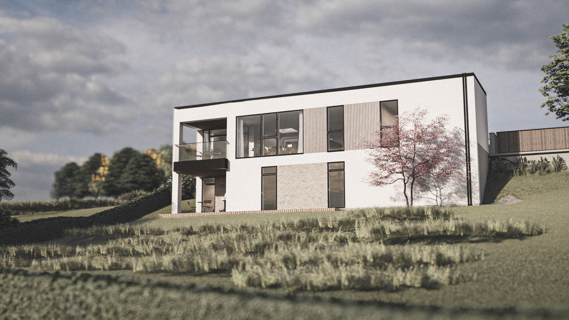 Billede af et arkitekt tegnet projektforslag af ny drømme villa i Ikast, af det danske arkitektfirma m2plus