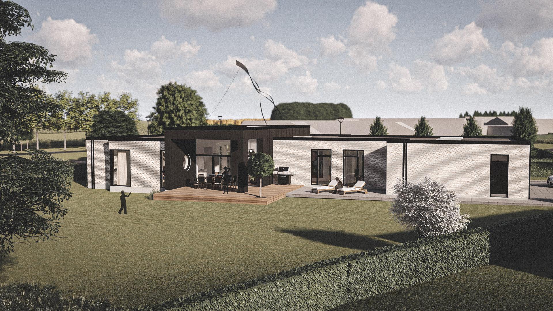 Billede af et arkitekt tegnet projektforslag af ny drømme villa i Aulum, af det danske arkitektfirma m2plus