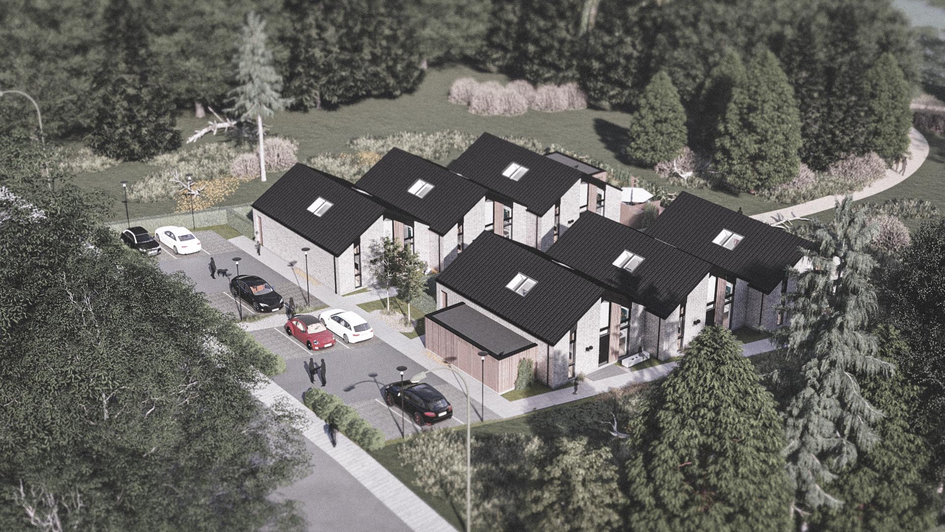 Billede af et arkitekt tegnet projektforslag af 6 nye drømme boliger i Glostrup, af det danske arkitektfirma m2plus