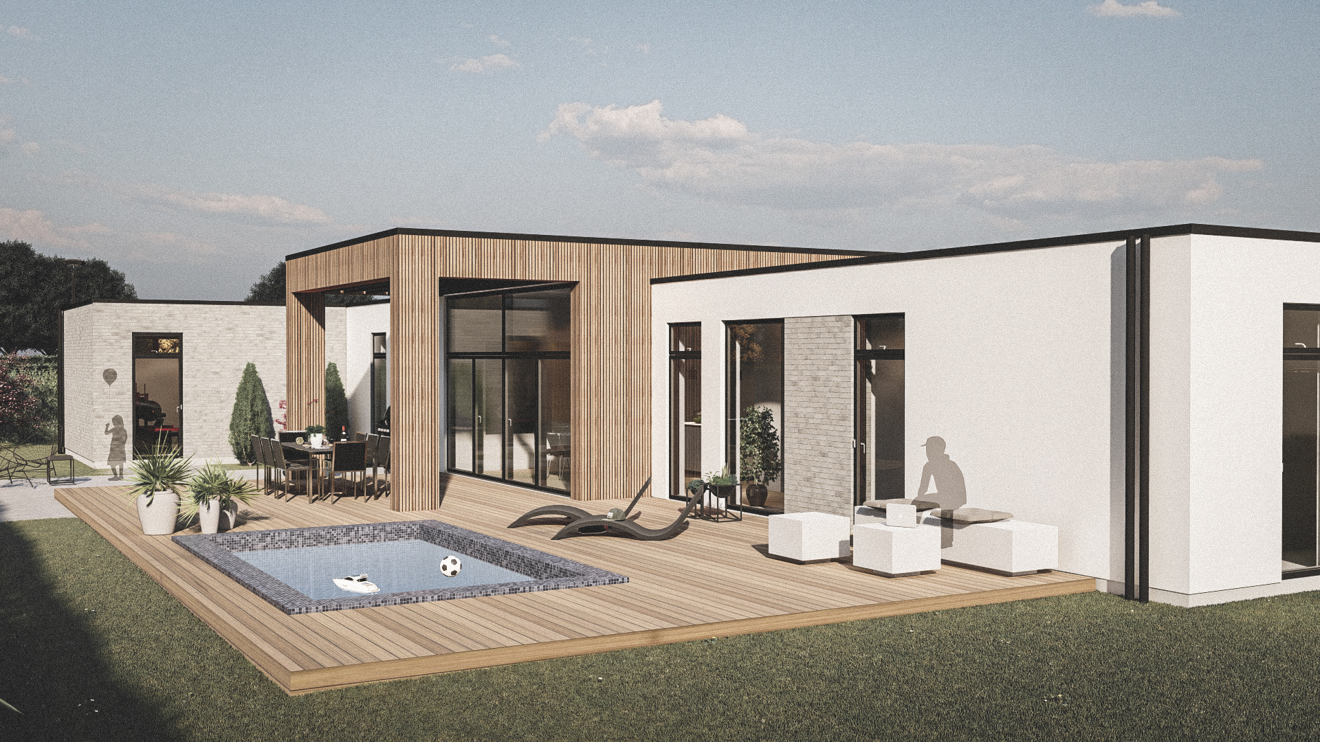 Billede af et arkitekt tegnet projektforslag af ny drømme villa i Esbjerg, af det danske arkitektfirma m2plus
