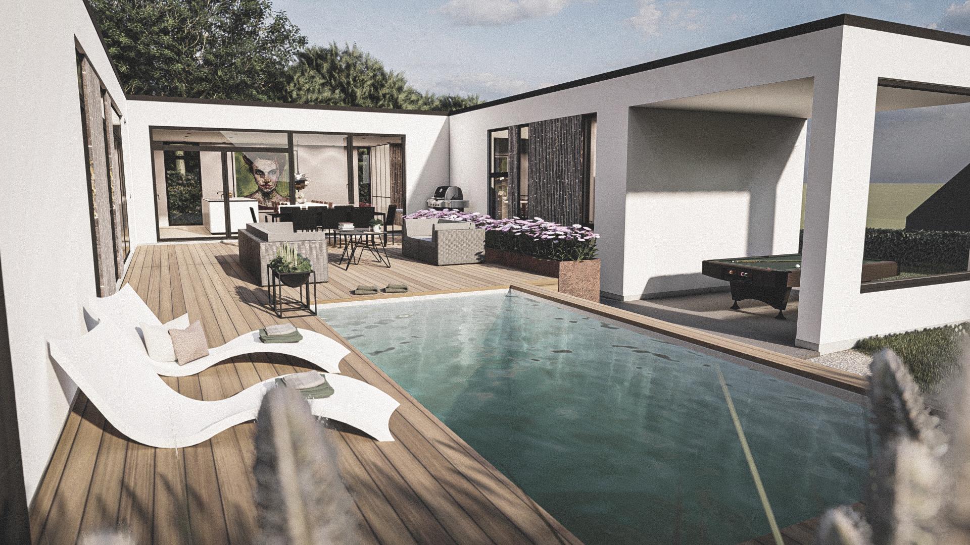 """Billede af et arkitekt tegnet projektforslag af ny drømme villa i Holte, af det danske arkitektfirma m2plus"""""""