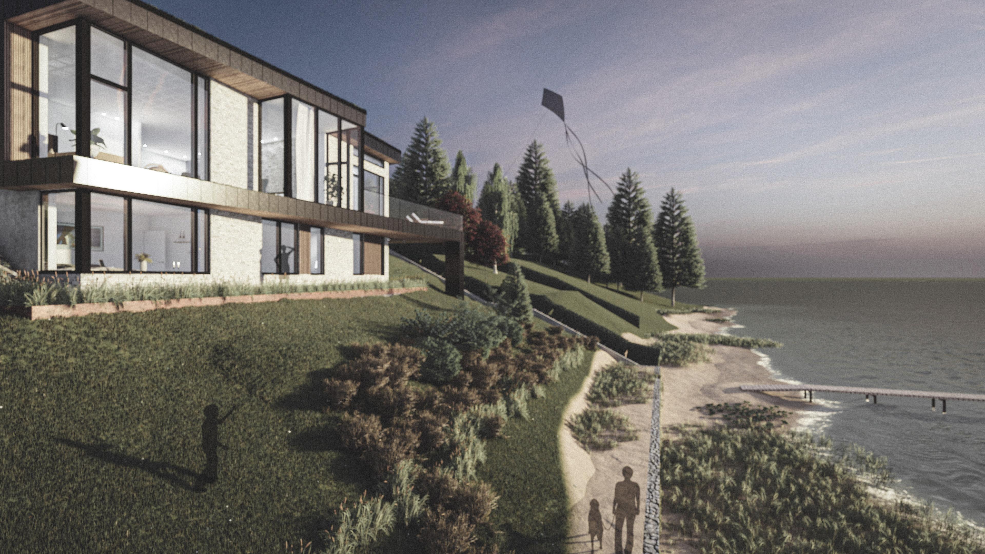 Billede af et arkitekt tegnet projektforslag af ny drømme villa i Roskilde, af det danske arkitektfirma m2plus