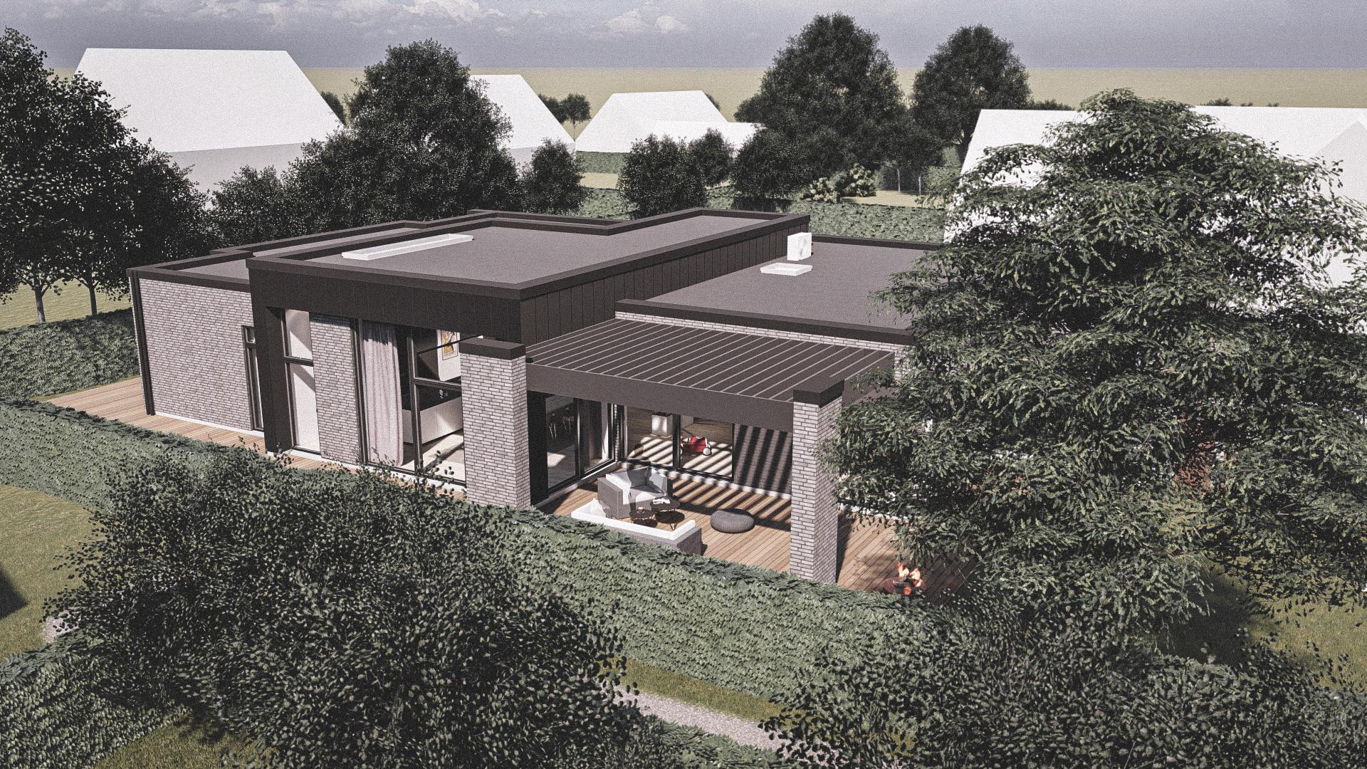 Billede af et arkitekt tegnet projektforslag af ny drømme villa i Greve, af det danske arkitektfirma m2plus