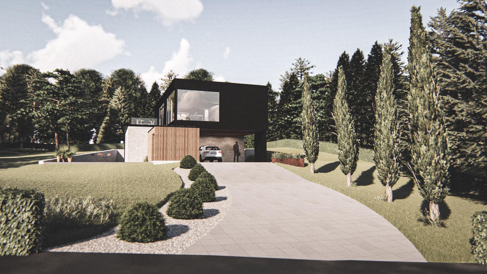 Billede af et arkitekt tegnet projektforslag af ny 2 plans drømme villa i Hadsund, af det danske arkitektfirma m2plus