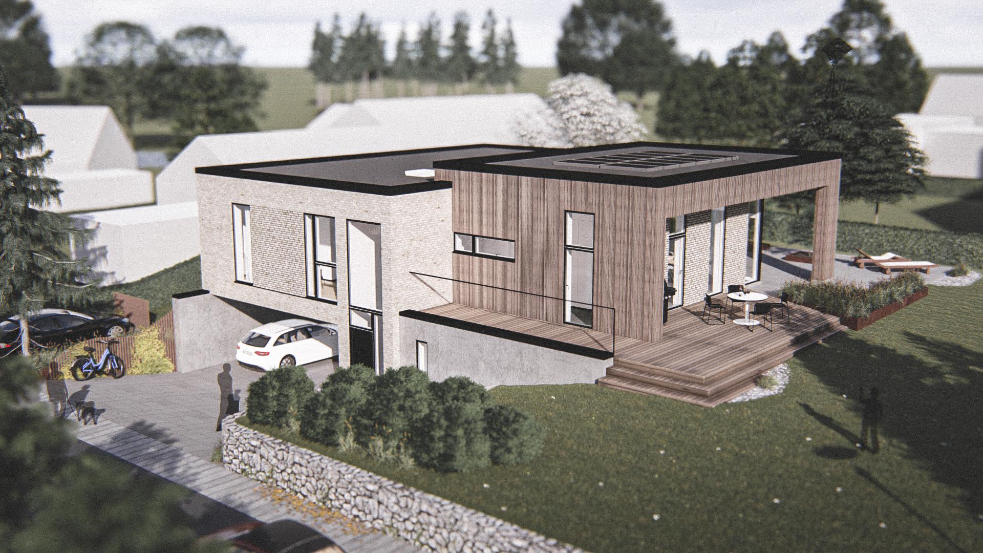 Billede af et arkitekt tegnet projektforslag af ny drømme villa i Bagsværd, af det danske arkitektfirma m2plus