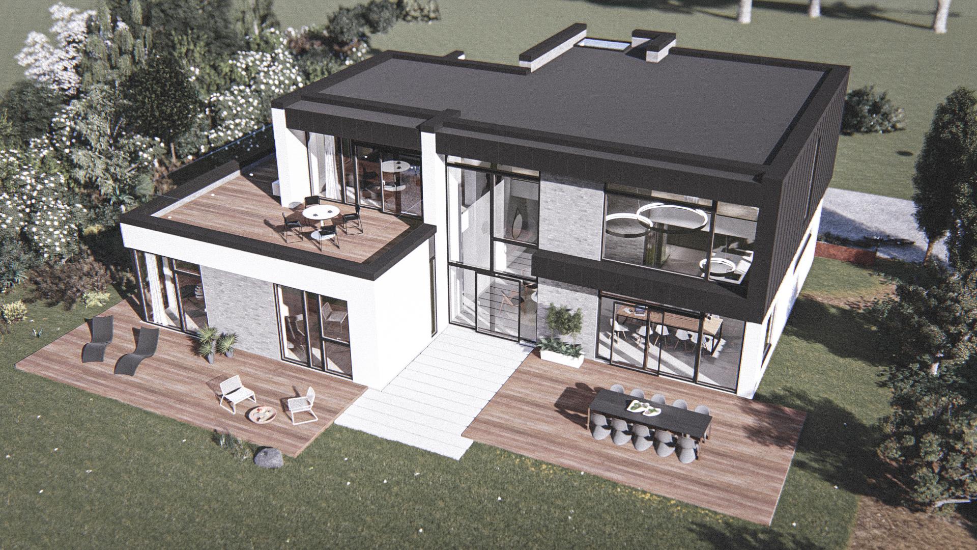 Billede af et arkitekt tegnet projektforslag af ny 2 plans drømme villa i Odder , af det danske arkitektfirma m2plus