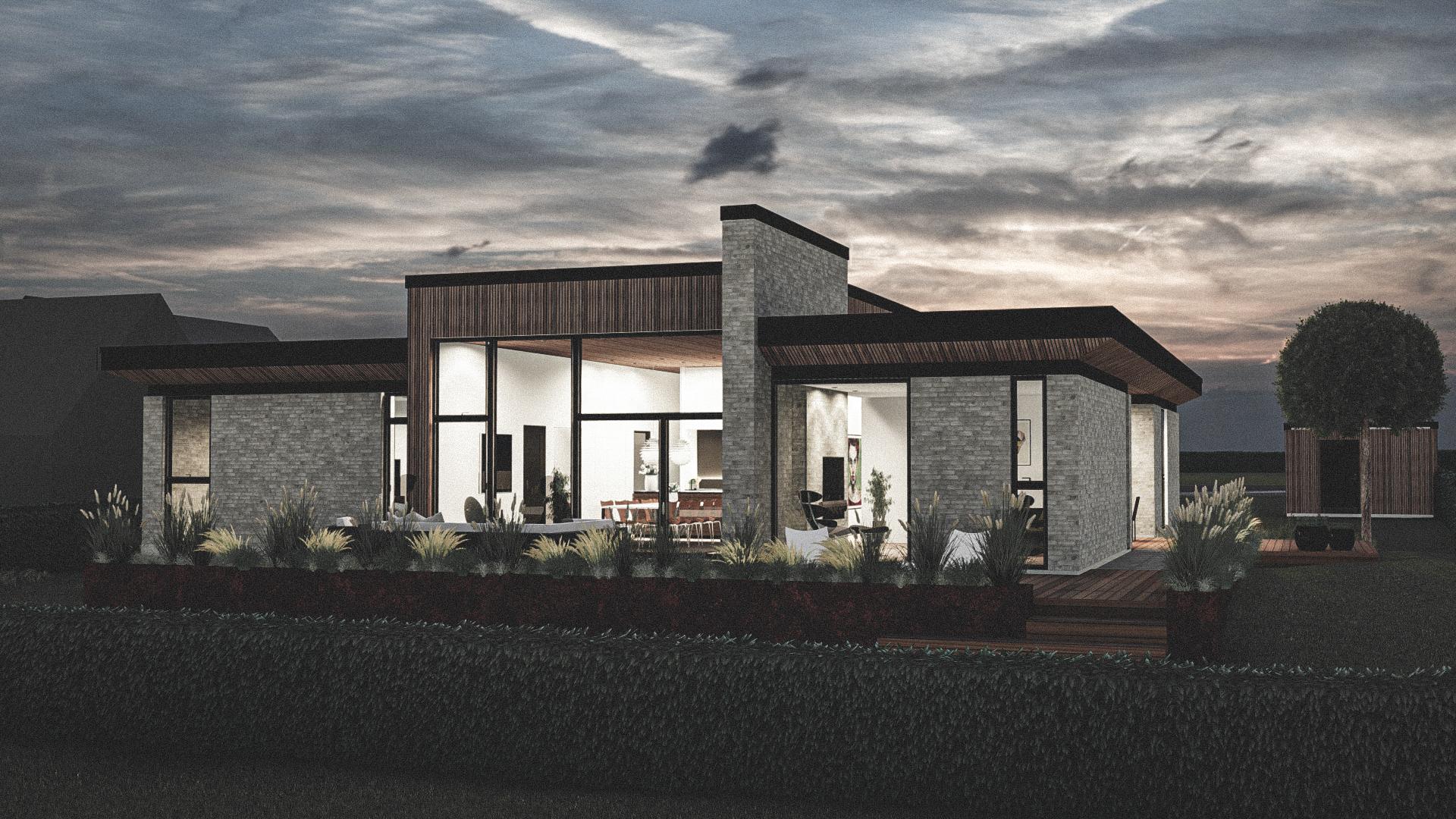 Billede af et arkitekt tegnet projektforslag af ny drømme villa i Langeskov, af det danske arkitektfirma m2plus