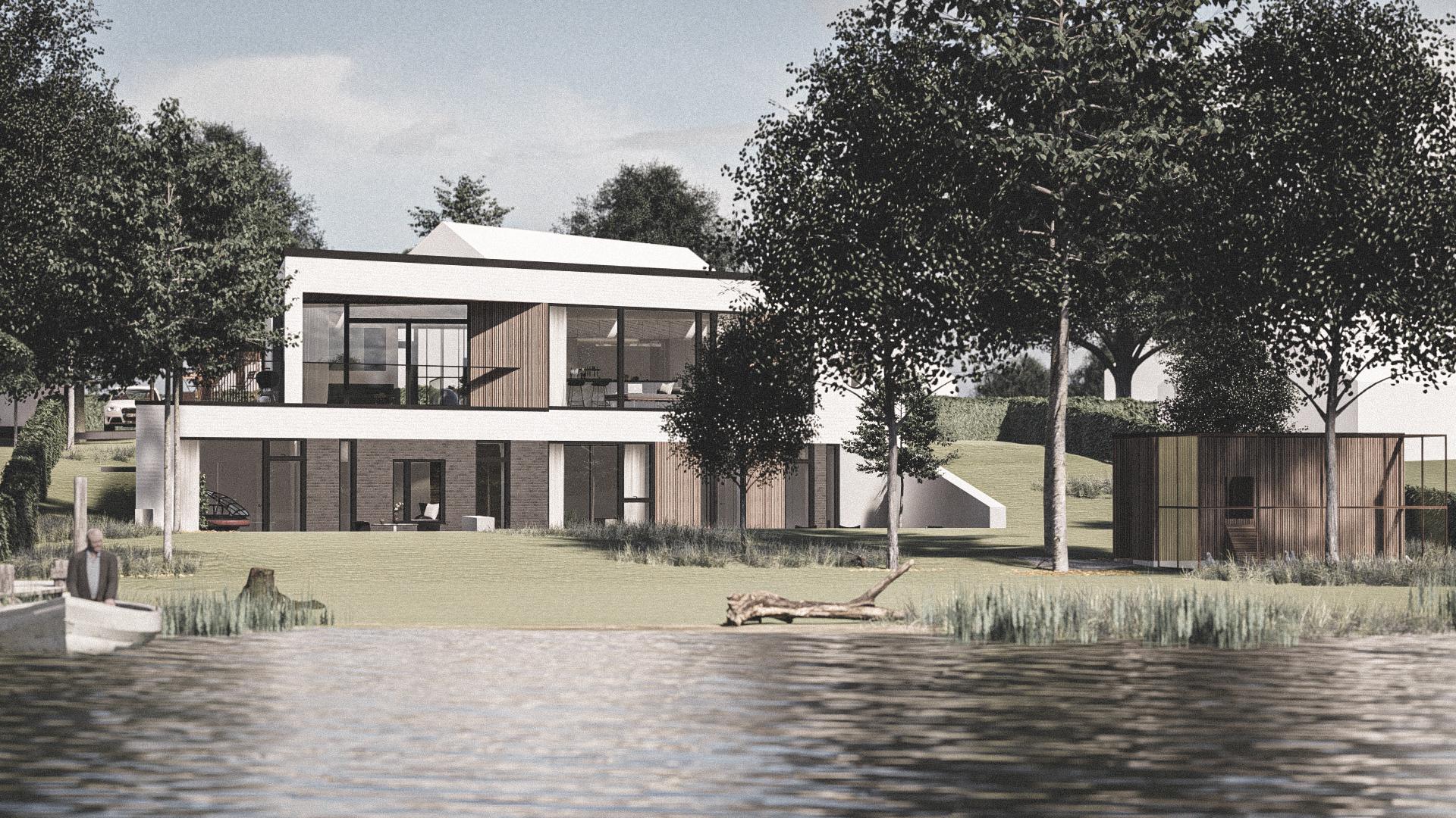 """Billede af et arkitekt tegnet projektforslag af ny 2 plans drømme villa i Sorø, af det danske arkitektfirma m2plus"""""""