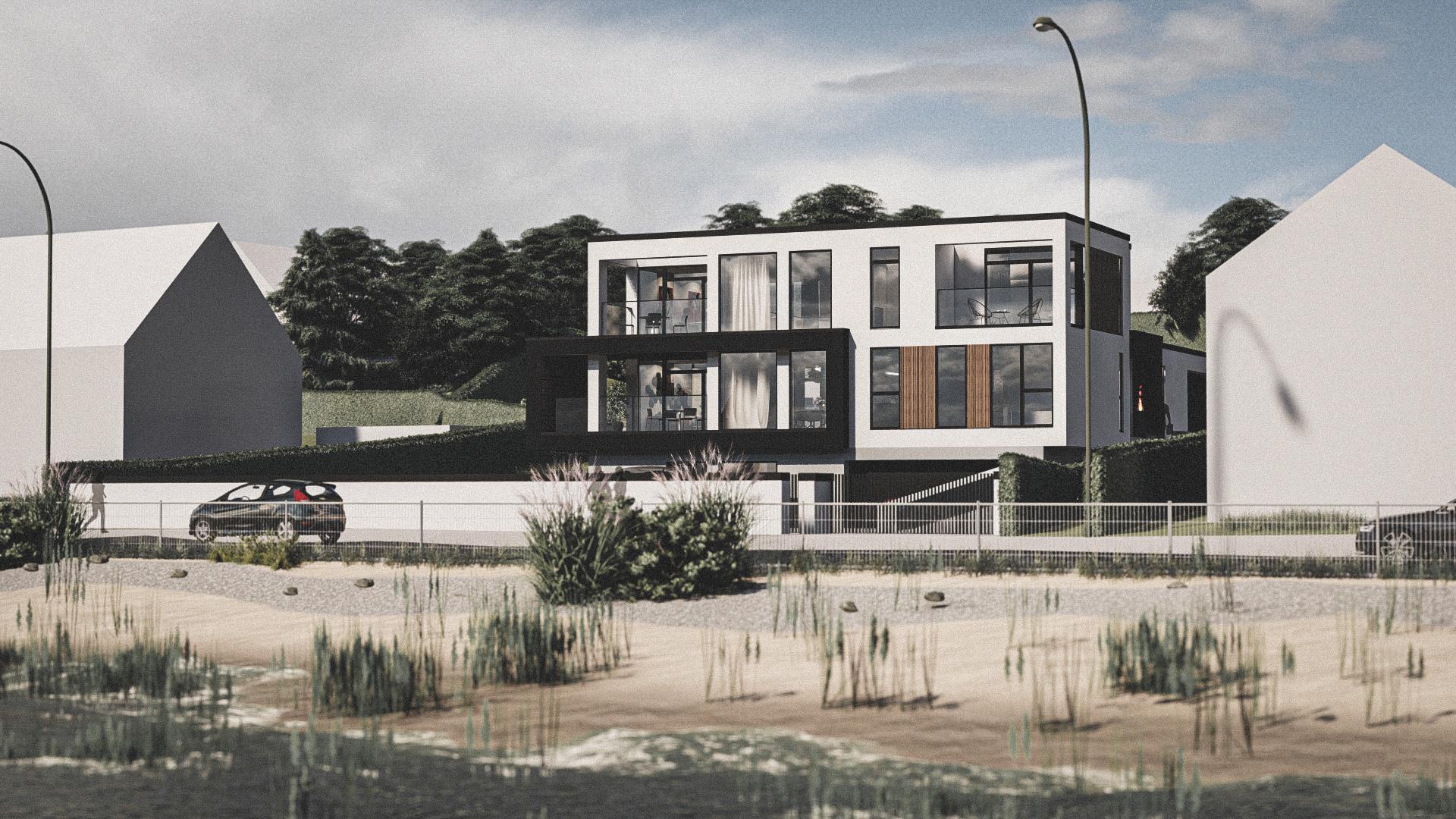 Billede af et arkitekt tegnet projektforslag af ny drømme villa på Rungsted Kyst, af det danske arkitektfirma m2plus