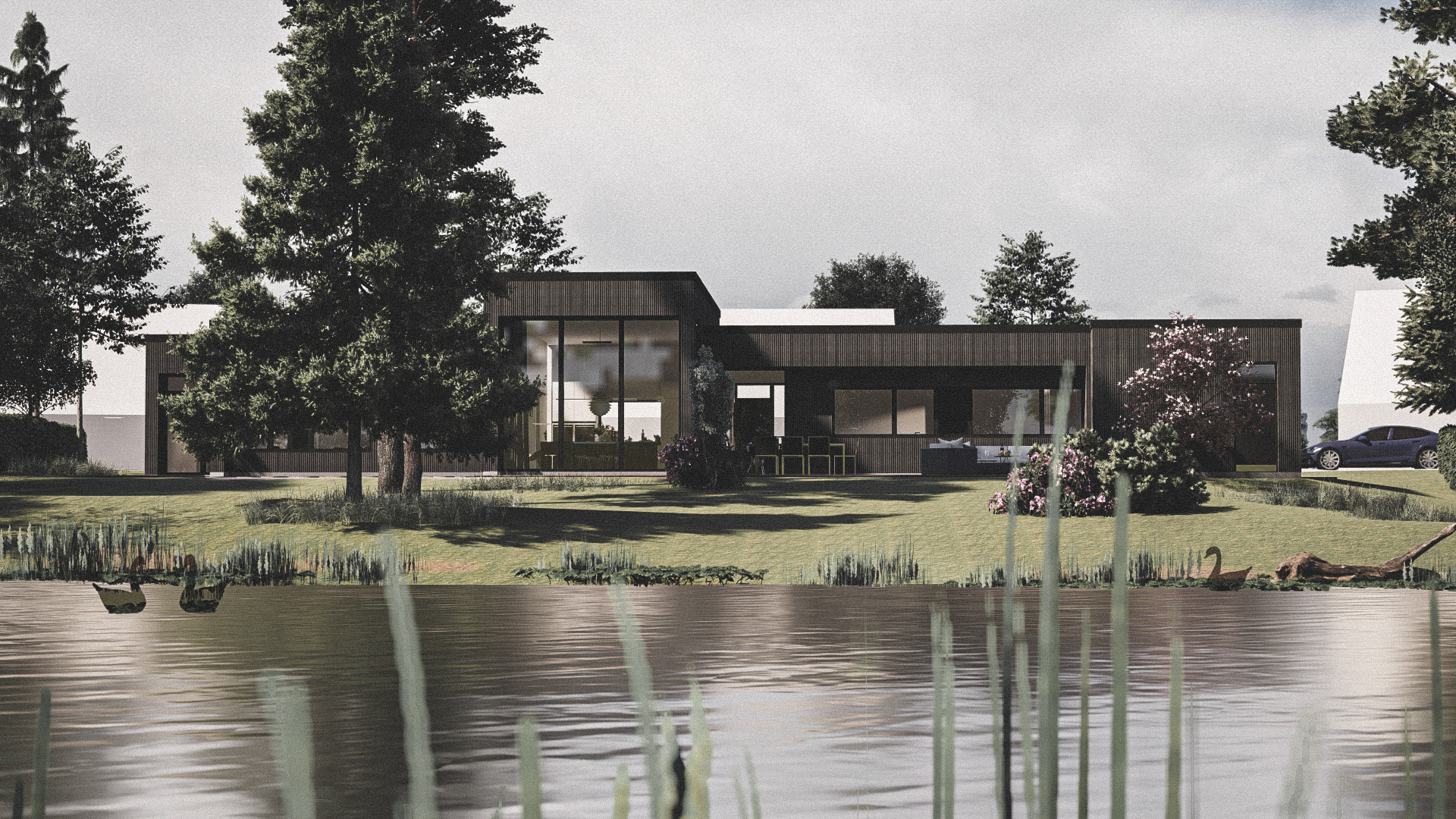 Billede af et arkitekt tegnet projektforslag af ny drømmebolig i Virum, af det danske arkitektfirma m2plus
