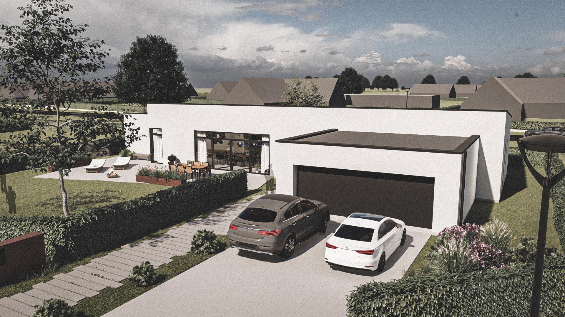 Billede af et arkitekt tegnet projektforslag af ny drømme villa i Nykøbing Falster, af det danske arkitektfirma m2plus