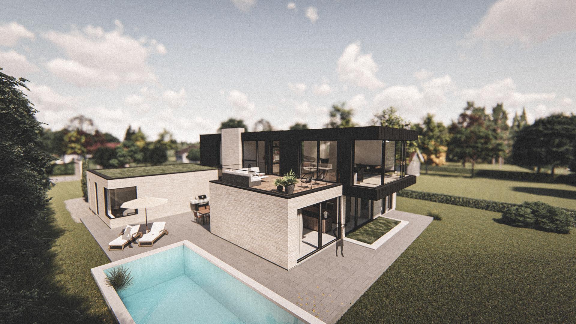 Billede af et arkitekt tegnet projektforslag af ny drømme villa på Faxe ladeplads, af det danske arkitektfirma m2plus