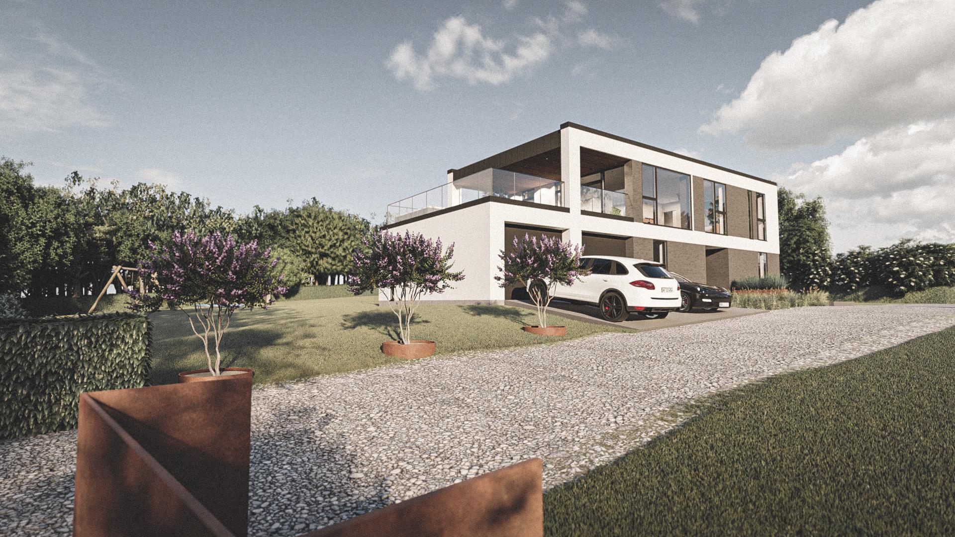 Billede af et arkitekt tegnet projektforslag af ny drømme villa i Aalborg, af det danske arkitektfirma m2plus