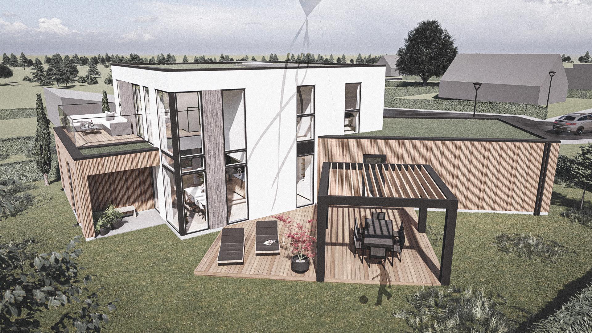 Billede af et arkitekt tegnet projektforslag af ny drømme villa i Odense SV, af det danske arkitektfirma m2plus