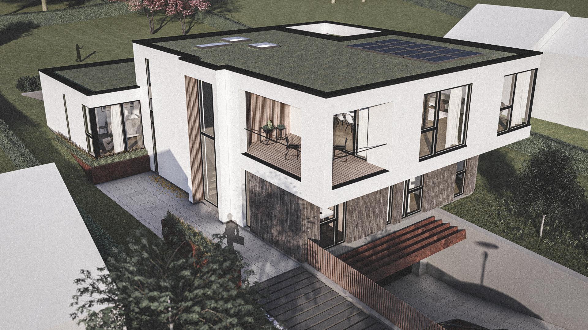 Billede af Dansk arkitekttegnet 3 plan villa af arkitektfirmaet m2plus, i Næstved på 379 kvartratmeter.