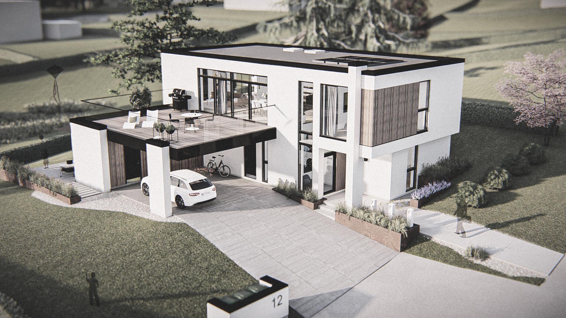 Billede af et arkitekt tegnet projektforslag af ny 2plans drømme villa i Aalborg, af det danske arkitektfirma m2plus