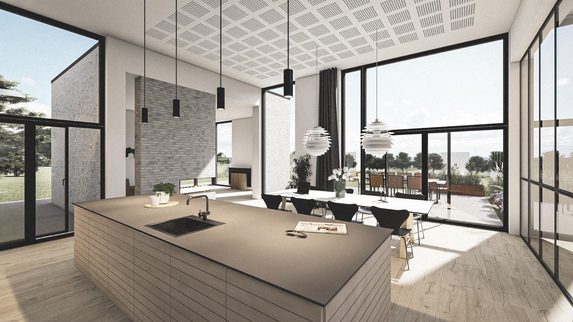 Billede af Dansk arkitekttegnet 1 plan villa af arkitektfirmaet m2plus, i Løgstør på 195 kvartratmeter.