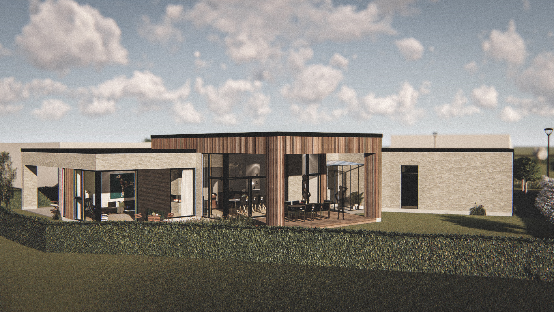 Billede af et arkitekt tegnet projektforslag af en ny 1plans drømme villa i Aalborg, af det danske arkitektfirma m2plus