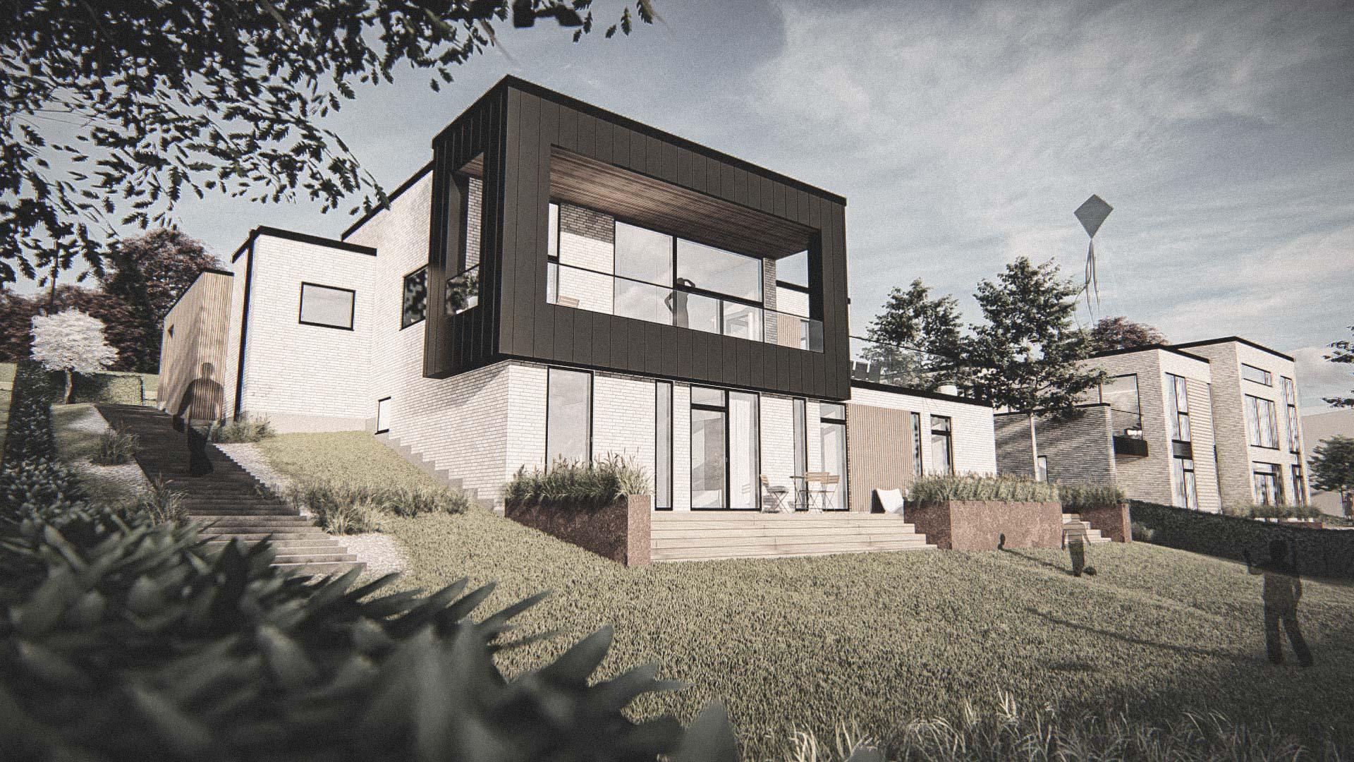 Billede af et arkitekt tegnet projektforslag af ny drømme villa i parterreplan beliggende i Viborg, af det danske arkitektfirma m2plus