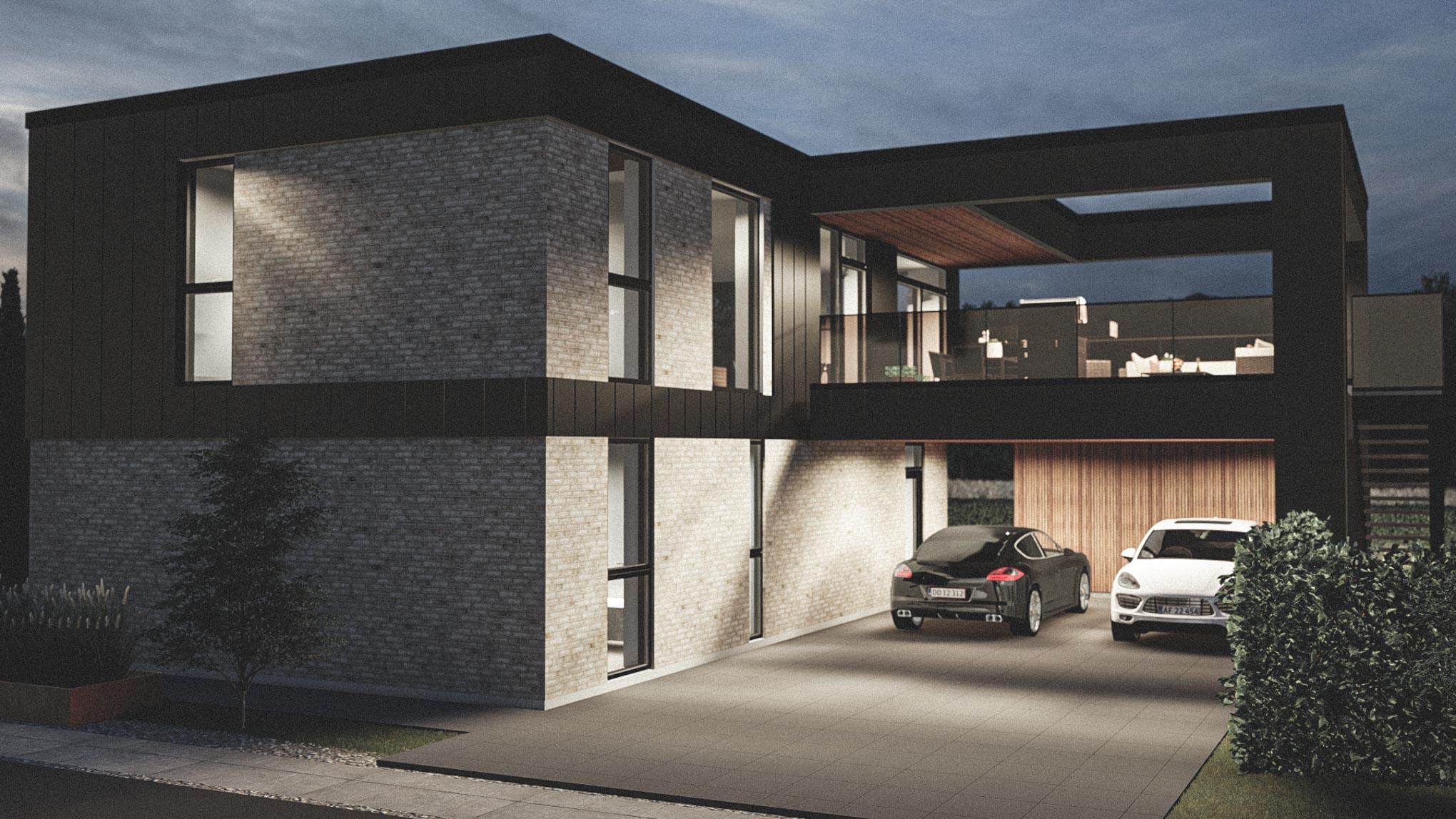 Billede af et arkitekt tegnet projektforslag af ny drømme villa i Ringsted, af det danske arkitektfirma m2plus