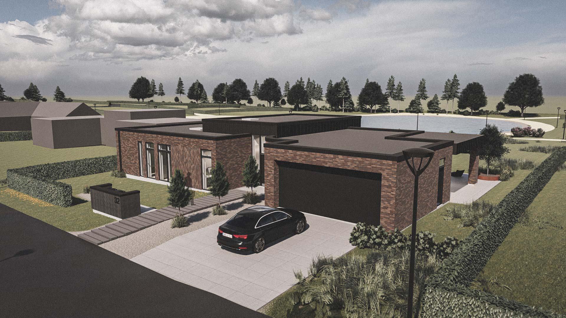 Billede af et arkitekt tegnet projektforslag af ny 1 plans drømme villa i Horsens, af det danske arkitektfirma m2plus