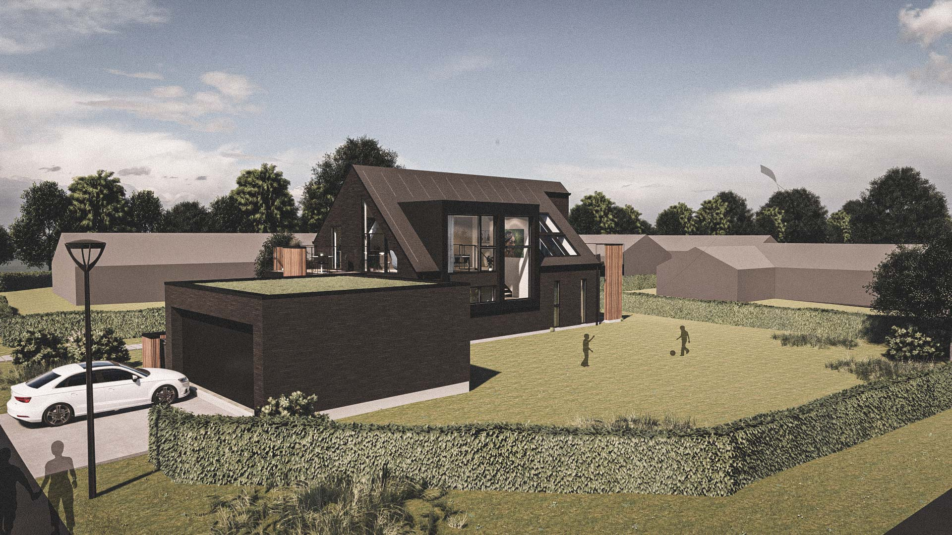 Billede af et arkitekt tegnet projektforslag af ny drømme villa i Svendborg, af det danske arkitektfirma m2plus
