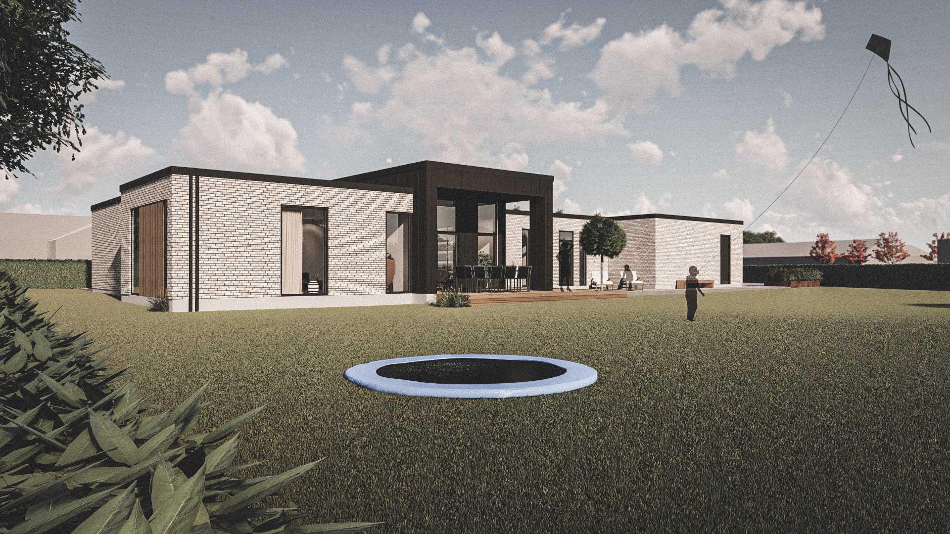 Billede af et arkitekt tegnet projektforslag af ny 1plans drømme villa i Aulum, af det danske arkitektfirma m2plus