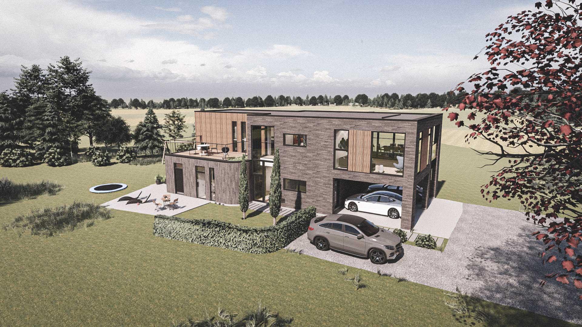 Billede af et arkitekt tegnet projektforslag af ny drømme villa i Ry, af det danske arkitektfirma m2plus