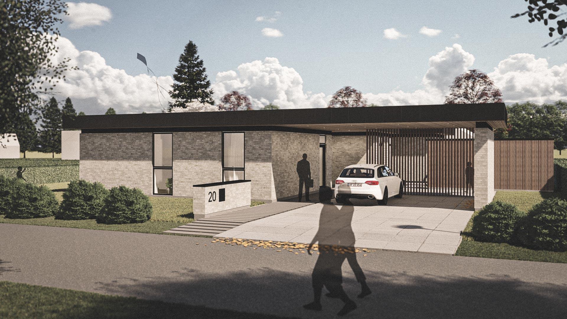 Billede af et arkitekt tegnet projektforslag af ny 1plans drømme villa i Viborg, af det danske arkitektfirma m2plus