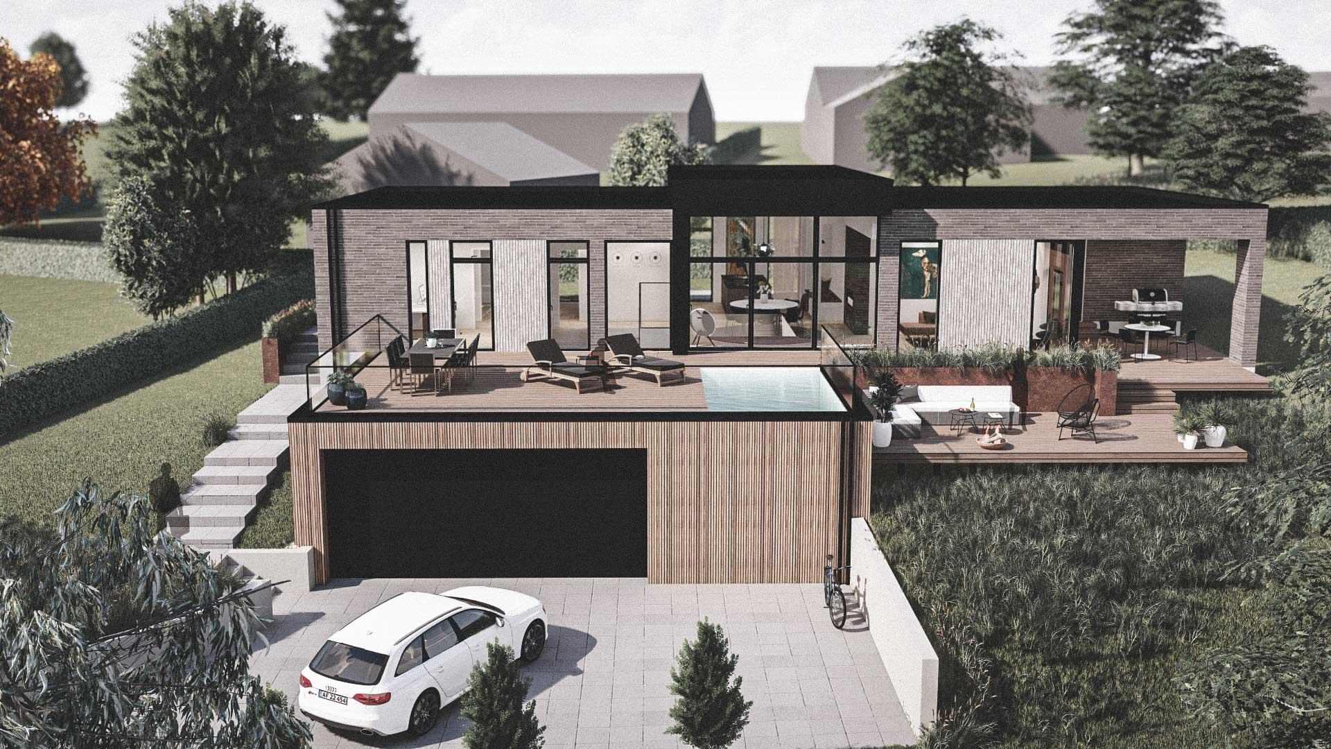 Billede af et arkitekt tegnet projektforslag af ny parterreplan drømme villa i Aalborg, af det danske arkitektfirma m2plus