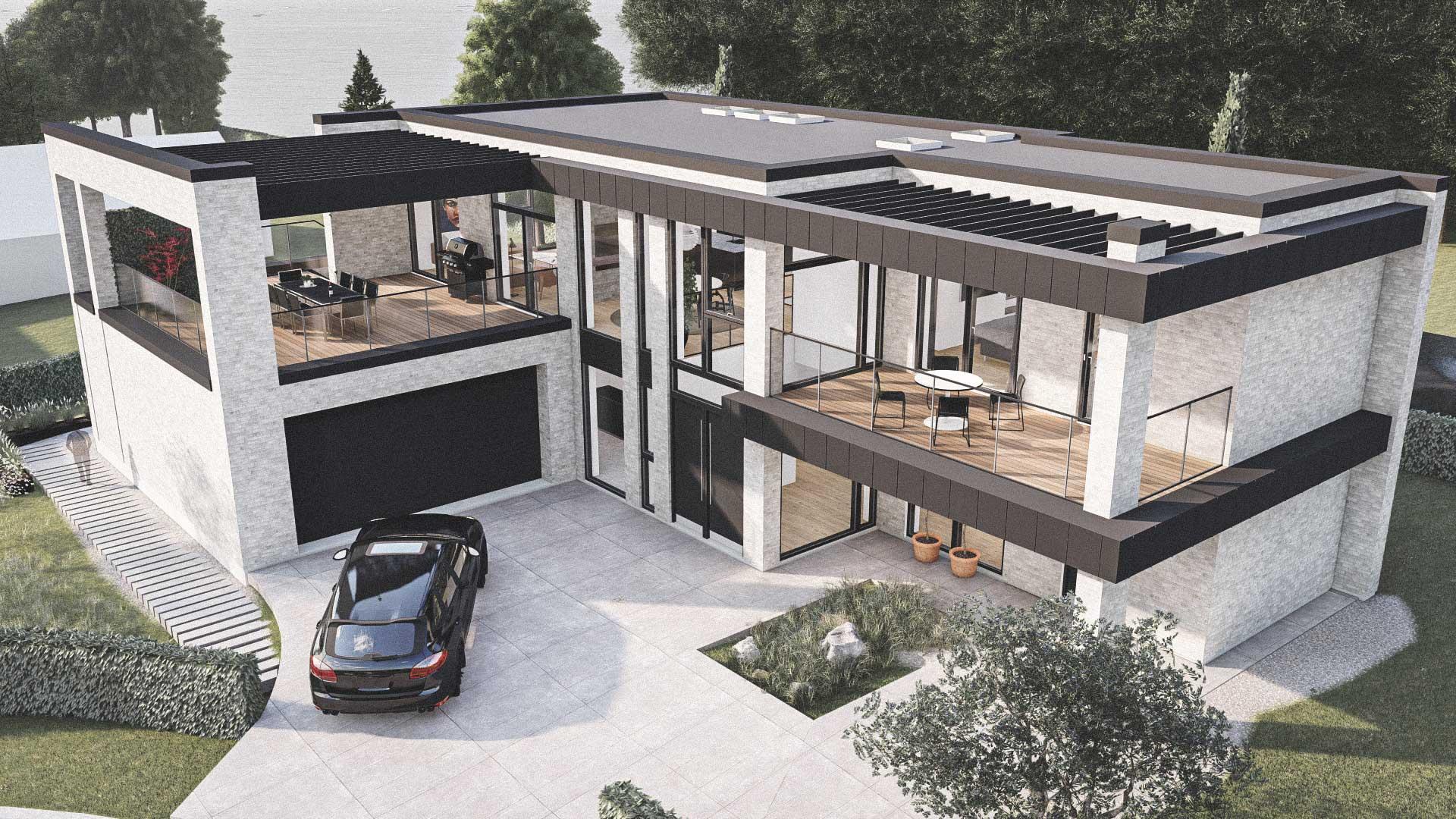 Billede af et arkitekt tegnet projektforslag af ny 2plans drømme villa i Middelfart, af det danske arkitektfirma m2plus