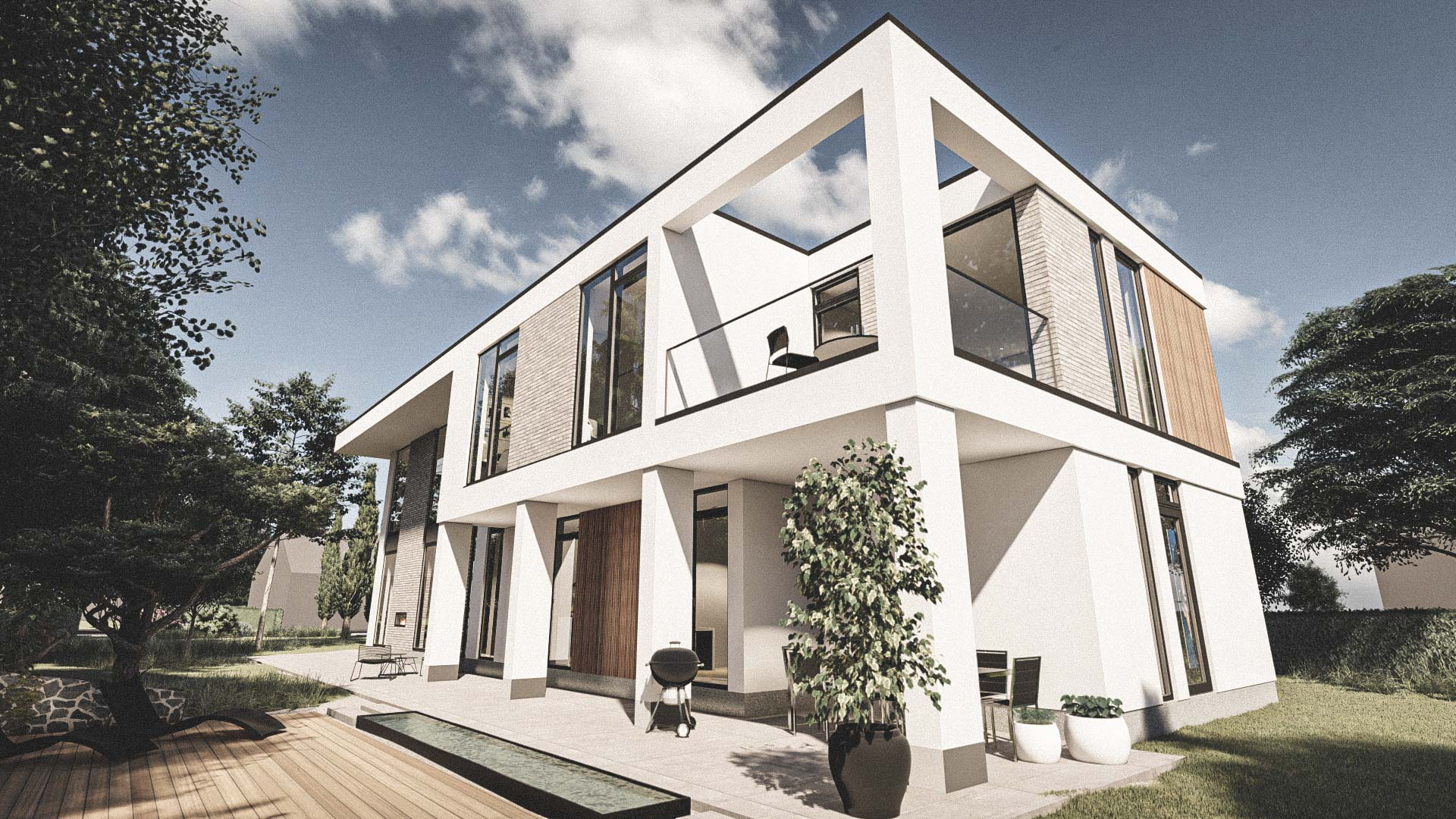 Billede af et arkitekt tegnet projektforslag af ny 2plans drømme villa i Rungsted Kyst, af det danske arkitektfirma m2plus