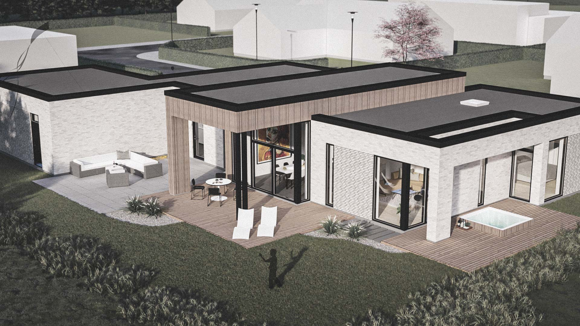 Billede af et arkitekt tegnet projektforslag af ny 1plans drømme villa i Løkken, af det danske arkitektfirma m2plus