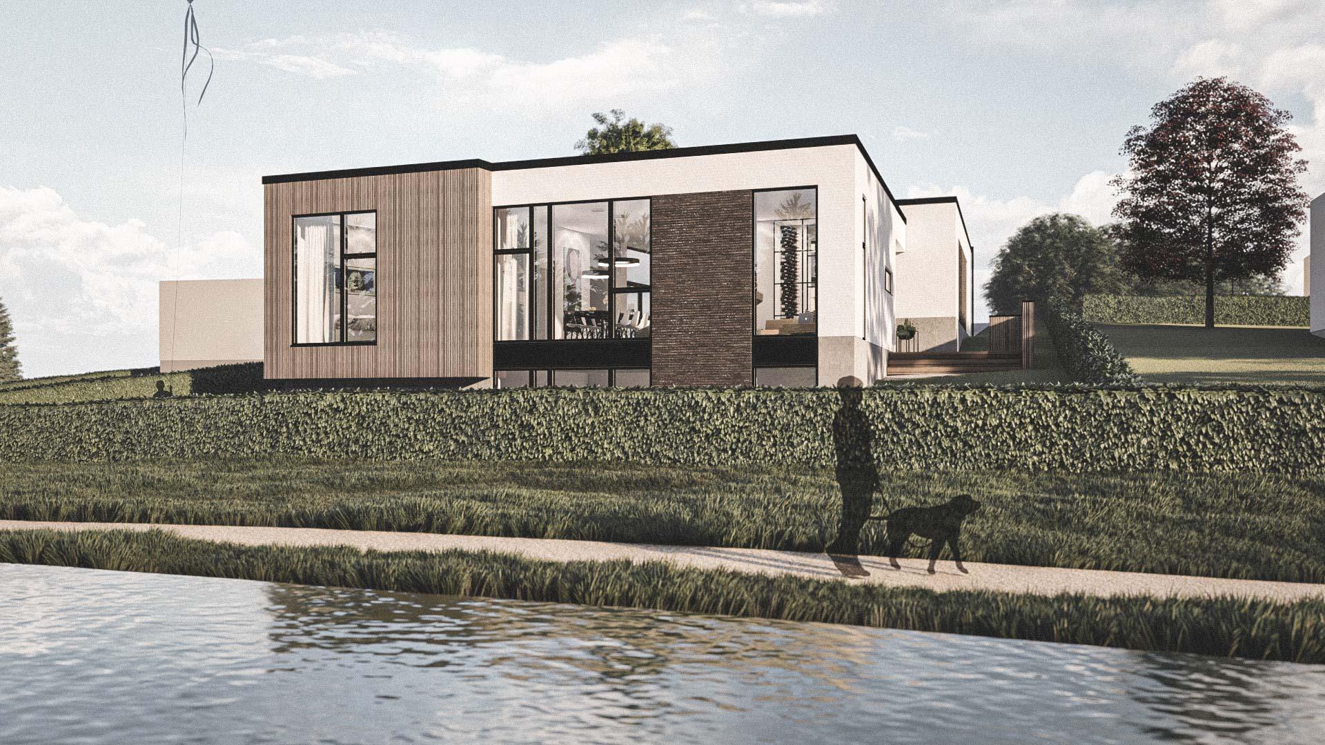 Billede af et arkitekt tegnet projektforslag af ny 2plans drømme villa i Malling, af det danske arkitektfirma m2plus