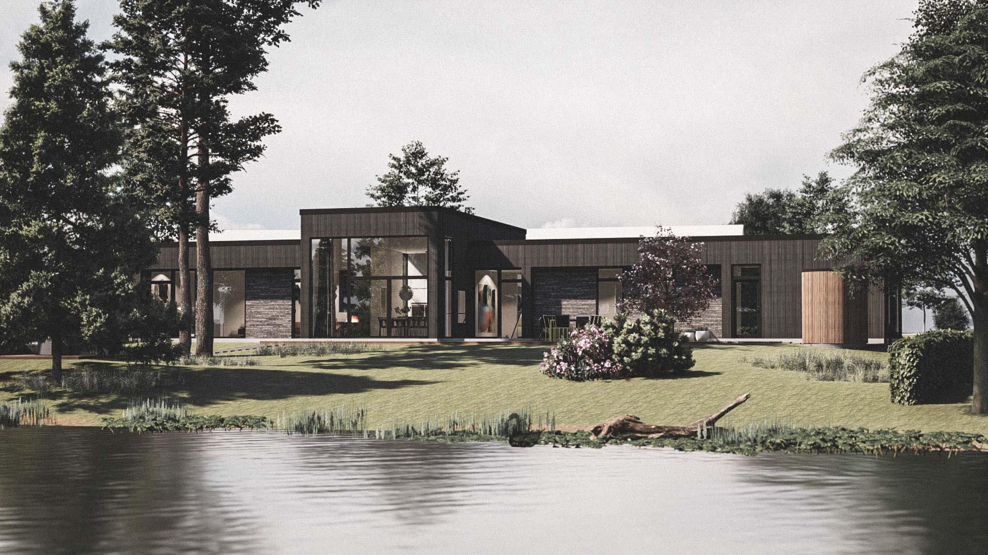 Billede af et arkitekt tegnet projektforslag af ny 2plans drømme villa i Virum, af det danske arkitektfirma m2plus