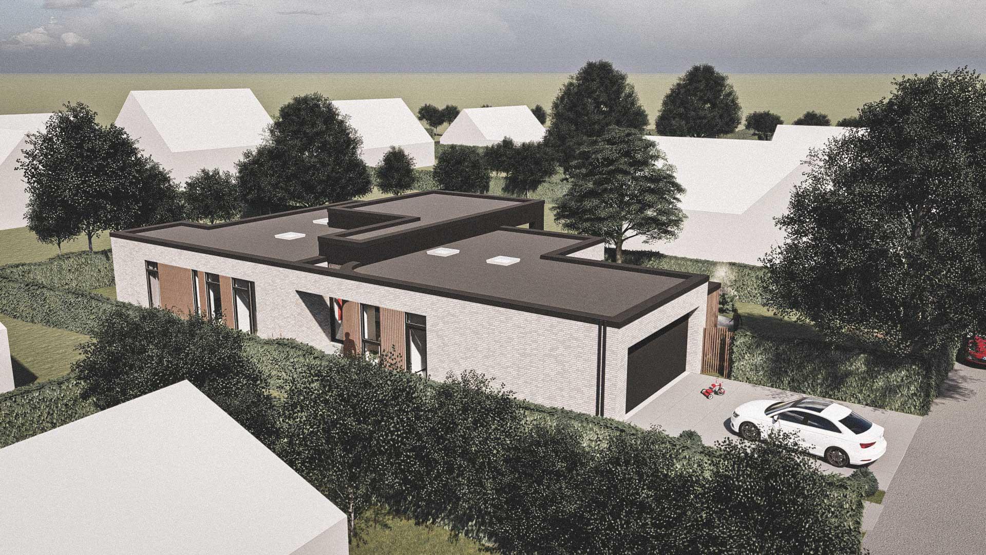 Billede af et arkitekt tegnet projektforslag af ny 1plans drømme villa i Greve, af det danske arkitektfirma m2plus