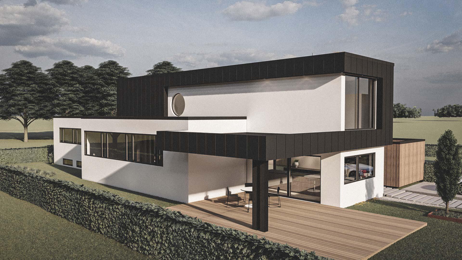 Billede af et arkitekt tegnet projektforslag af ny 2plans drømme villa i Gentofte, af det danske arkitektfirma m2plus