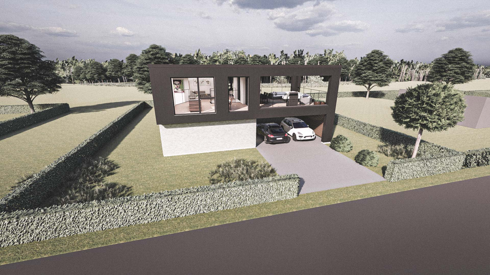 Billede af et arkitekt tegnet projektforslag af ny 2plans drømme villa i Ringsted, af det danske arkitektfirma m2plus