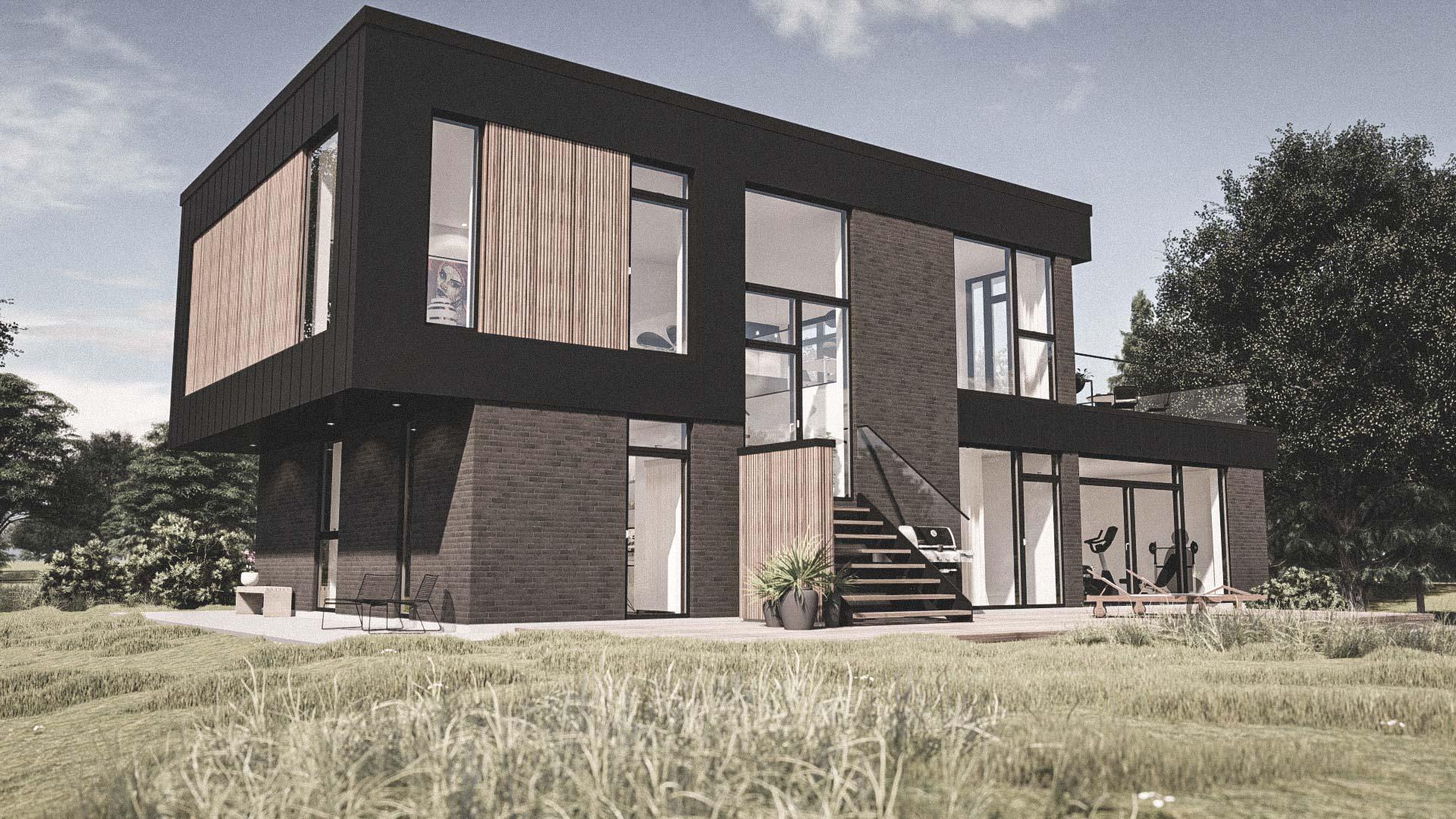Billede af et arkitekt tegnet projektforslag af ny 2plans drømme villa i Viborg, af det danske arkitektfirma m2plus