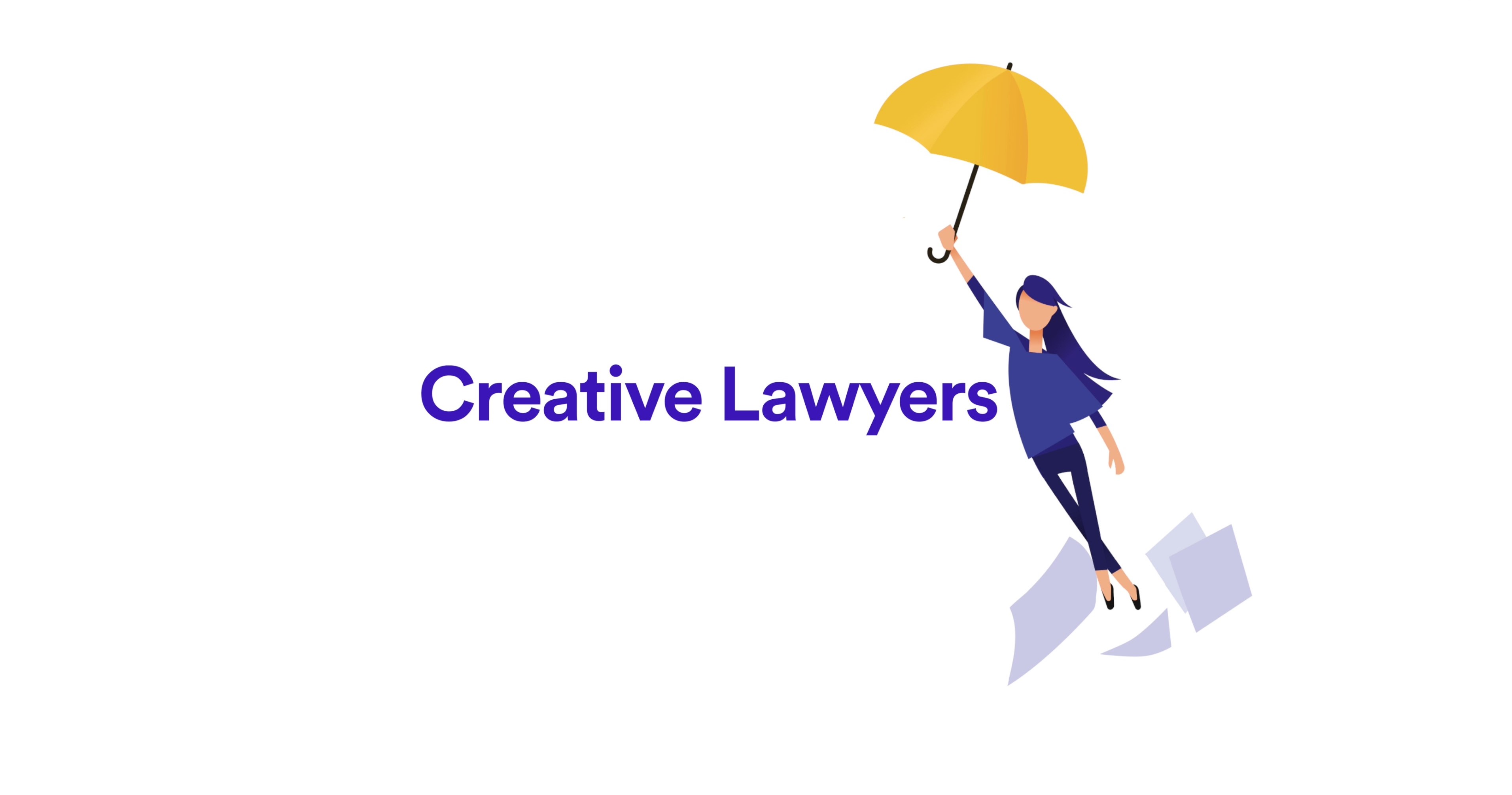 Mary with an umbrella next to Creative Lawyers title