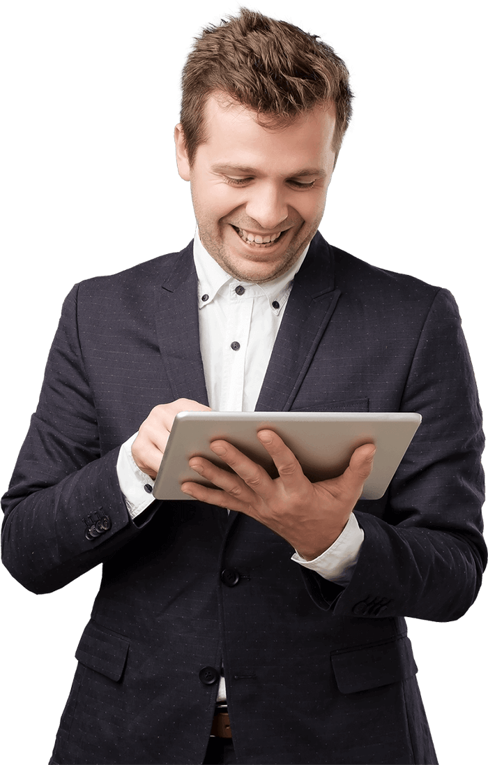 Business man using tablet to view VidHug video