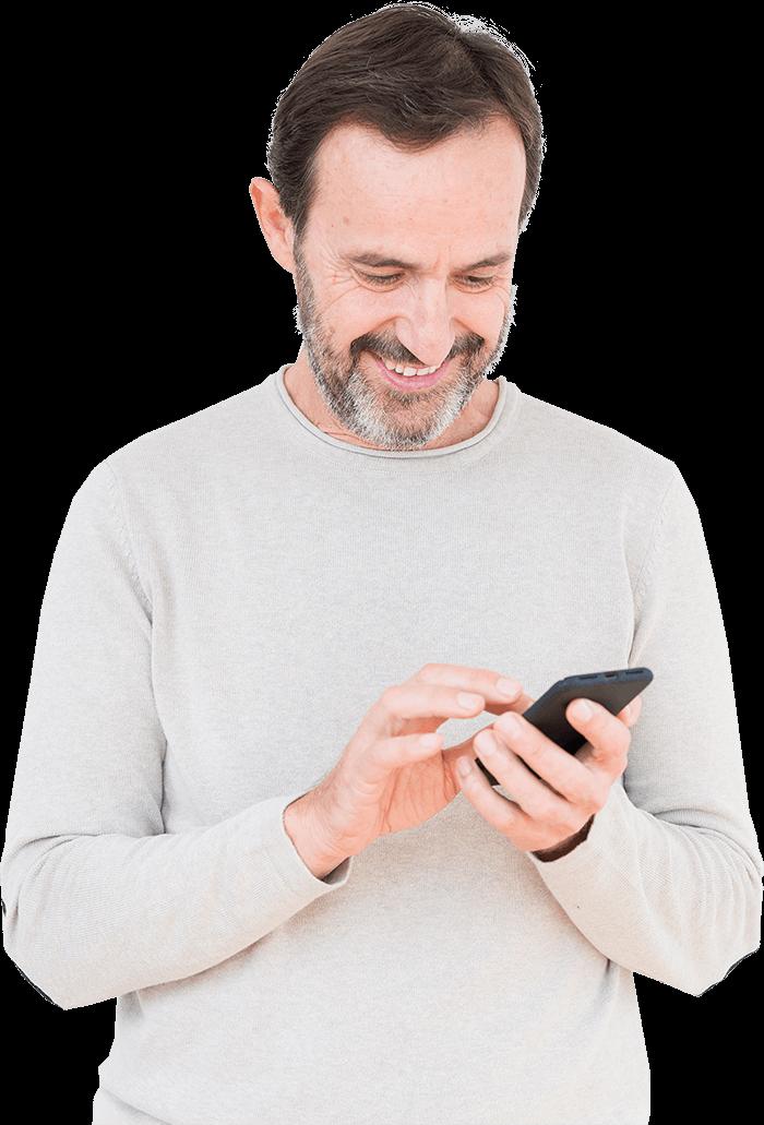 Man using phone to view Vidhug video