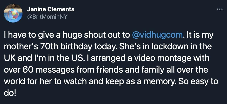 Screenshot of Twitter user Tweeting about VidHug