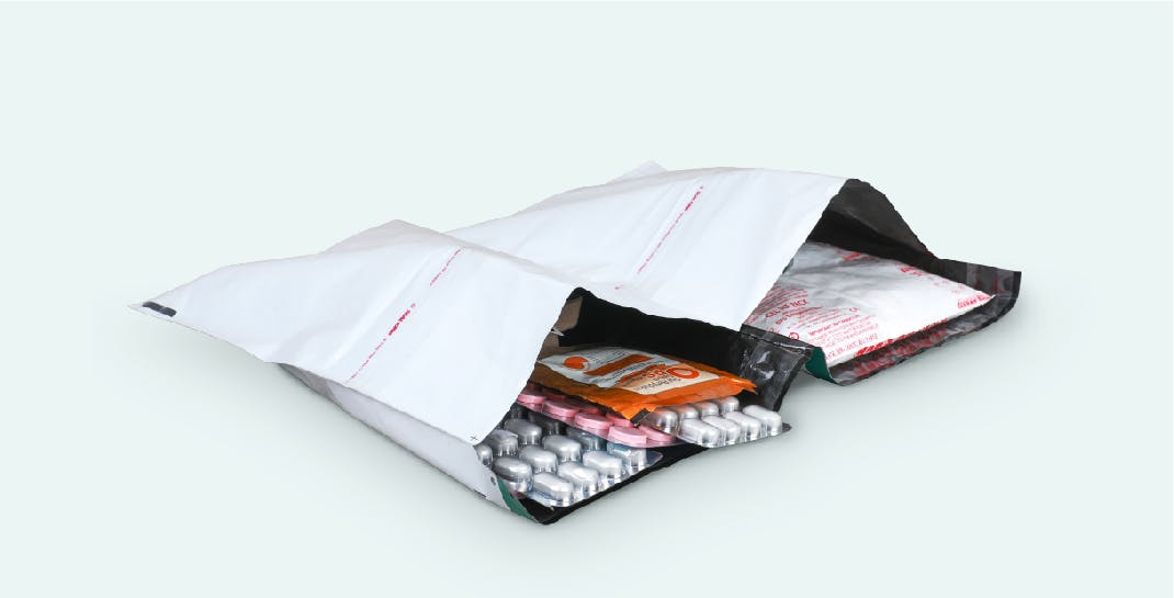 Pharmaceutical Packaging Solution - Sectioned Courier Bags