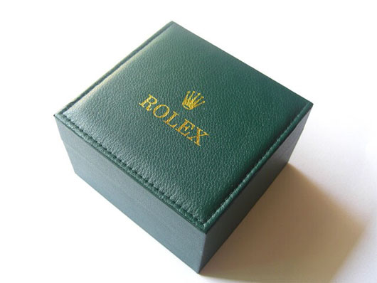 Sans serif fonts on Rolex brand packaging