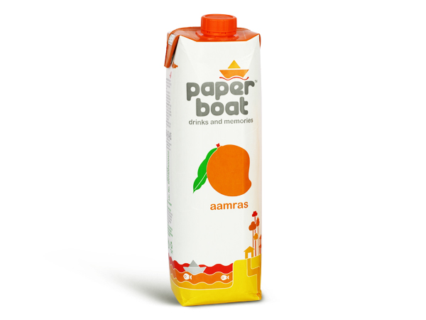 Paper boat packaging tetra pack - aamras flavour