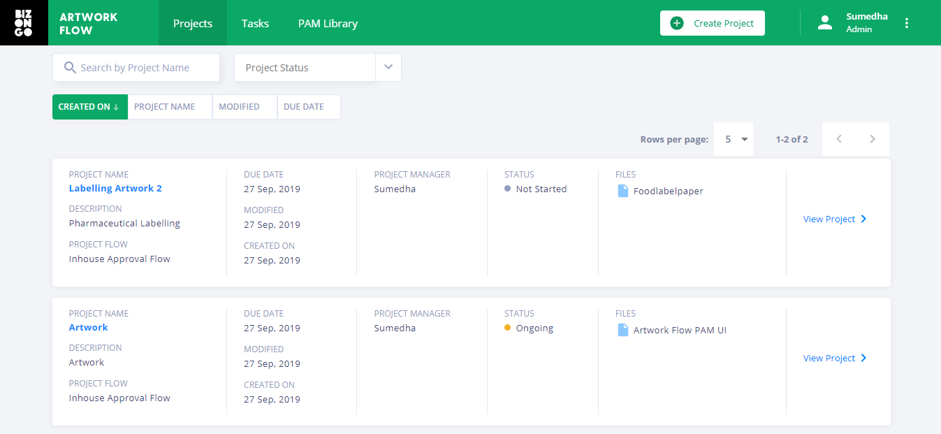 The project tab in Artwork Flow shows the different projects and their status as ongoing, rejected or complete.